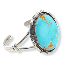 Load image into Gallery viewer, Native American Bracelet - Large Navajo Oval Royston Turquoise Bracelet - Samson Edsitty
