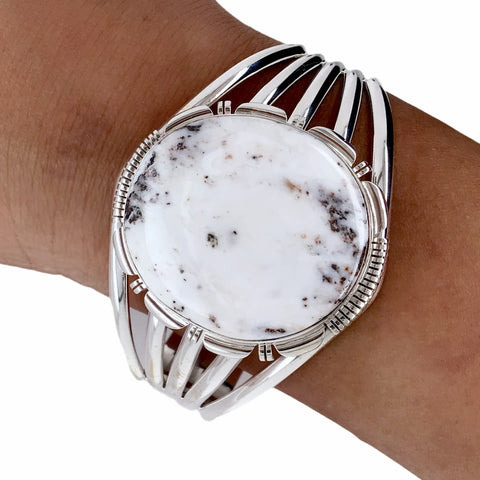 Native American Bracelet - Large Navajo White Buffalo Round Stone Sterling Silver Cuff Bracelet - Native American