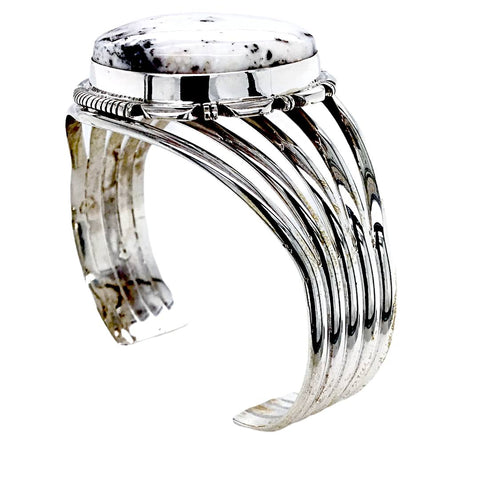 Image of Native American Bracelet - Large Navajo White Buffalo Round Stone Sterling Silver Cuff Bracelet - Native American
