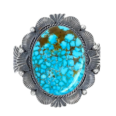 Image of Native American Bracelet - Large Stunning Navajo Kingman Turquoise Sterling Silver Cuff Bracelet - Mary Ann Spencer - Native American