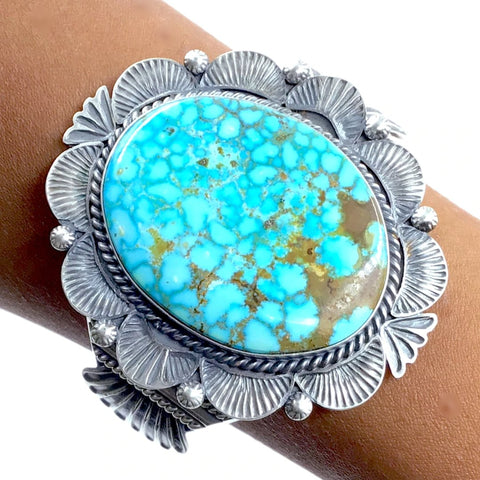 Native American Bracelet - Large Stunning Navajo Kingman Turquoise Sterling Silver Cuff Bracelet - Mary Ann Spencer - Native American