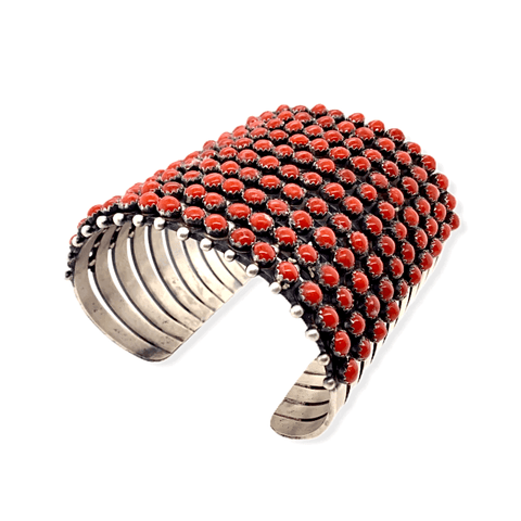 Image of Native American Bracelet - Navajo 10 Row Coral Cuff Bracelet -Paul Livingston