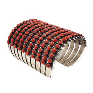 Native American Bracelet - Navajo 10 Row Coral Cuff Bracelet -Paul Livingston