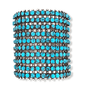 Native American Bracelet - Navajo 10 Row Sleeping Beauty Turquoise Cuff Bracelet -Paul Livingston