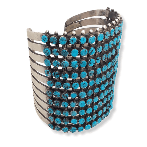 Image of Native American Bracelet - Navajo 10 Row Sleeping Beauty Turquoise Cuff Bracelet -Paul Livingston