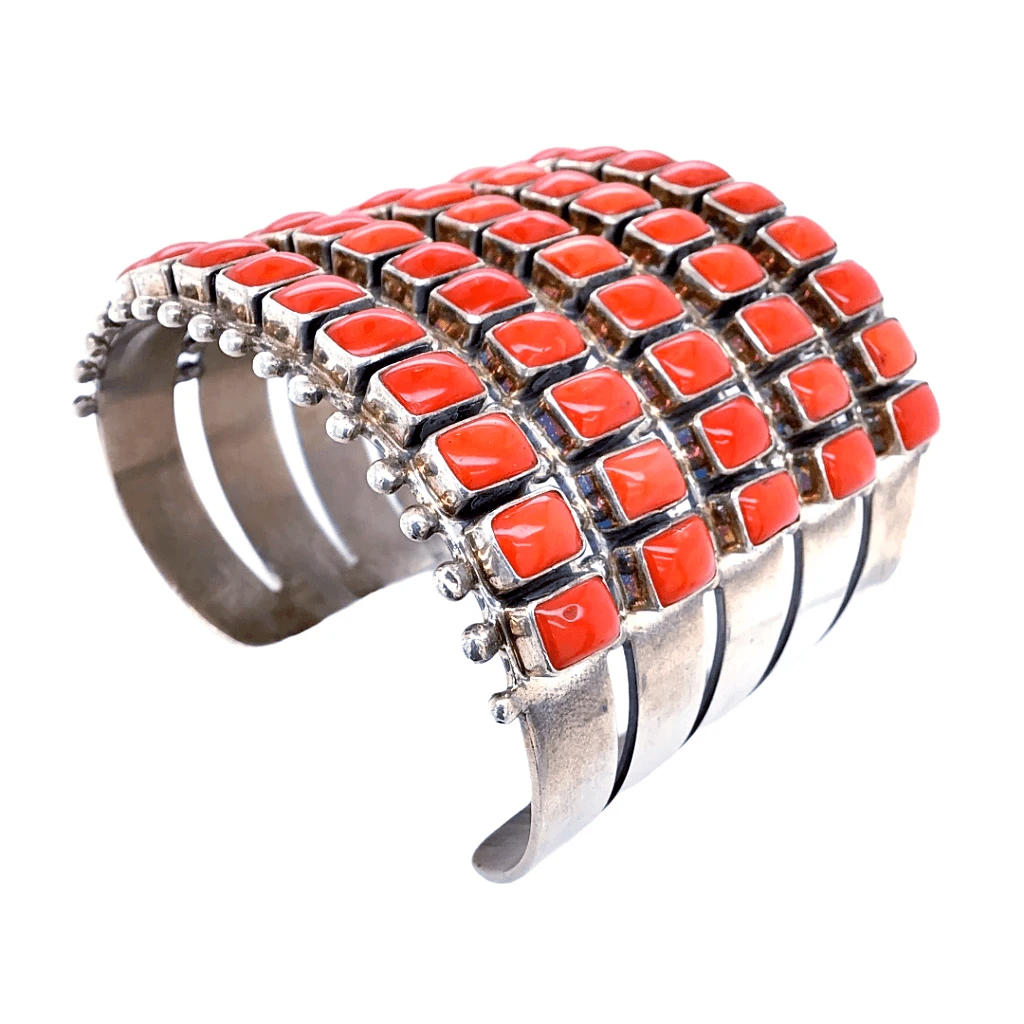 Native American Bracelet - Navajo 5 Row Coral Rectangles Cuff Bracelet - Paul Livingston