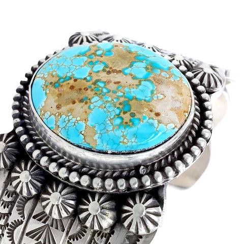 Image of Native American Bracelet - Navajo #8 Turquoise Stamped Sterling Silver Cuff Bracelet - Mike Calladitto - Native American