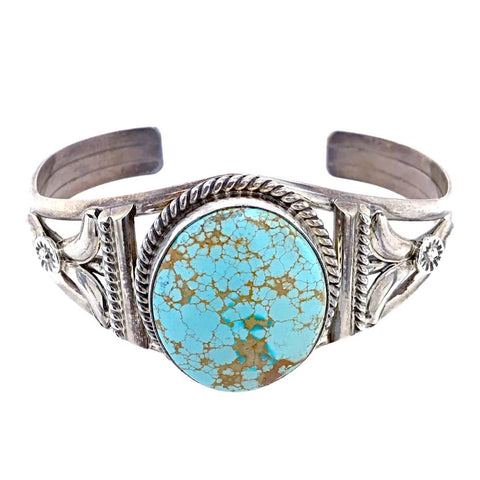 Image of Native American Bracelet - Navajo #8 Turquoise Sterling Silver Bracelet - Mary Ann Spencer
