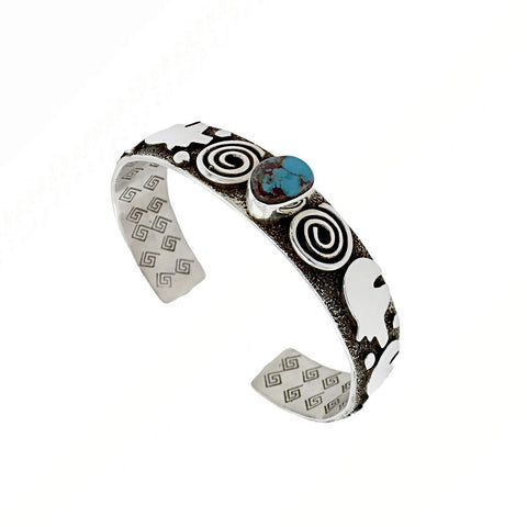 Image of Native American Bracelet - Navajo Bear Petroglyph Kingman Turquoise Bracelet - Alex Sanchez - Native American