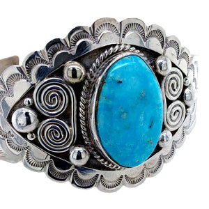 Native American Bracelet - Navajo Blue Ridge Turquoise Hand Stamped Sterling Silver Bracelet - Mary Ann Spencer