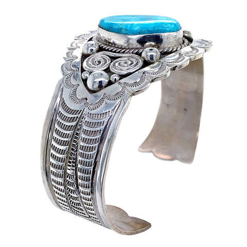 Image of Native American Bracelet - Navajo Blue Ridge Turquoise Hand Stamped Sterling Silver Bracelet - Mary Ann Spencer