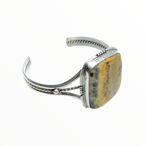 Native American Bracelet - Navajo Bumblebee Jasper Stone Square Bracelet With Silver Twist Wire- Samson Edsitty - Native American