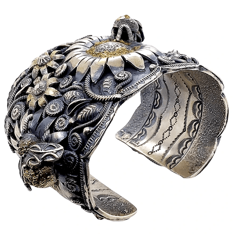 Image of Native American Bracelet - Navajo Busy Bee 18K Gold & Sterling Silver Cuff Bracelet - Larry Martinez Chavez