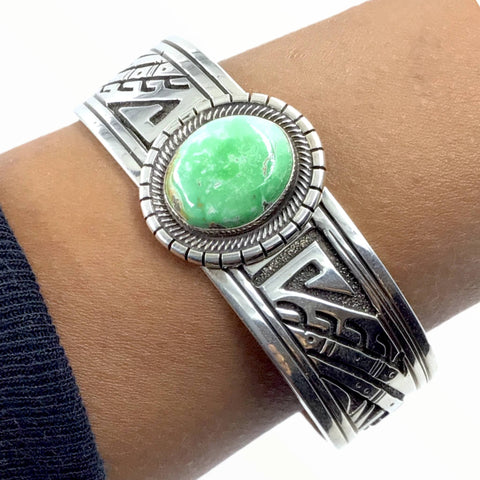 Native American Bracelet - Navajo Carico Lake Turquoise Engraved Sterling Silver Cuff Bracelet - E. Wylie - Native American