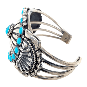 Native American Bracelet - Navajo Cluster Sleeping Beauty Turquoise And Silver Bracelet