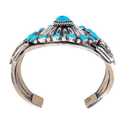 Image of Native American Bracelet - Navajo Cluster Sleeping Beauty Turquoise And Silver Bracelet