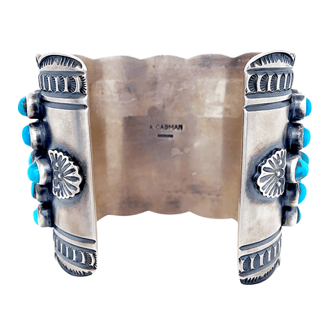 Native American Bracelet - Navajo Cobblestone Row Turquoise And Silver Cuff Bracelet - A. Cadman