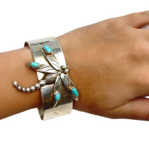 Native American Bracelet - Navajo Dragonfly Sleeping Beauty Turquoise Cuff Bracelet - Native American