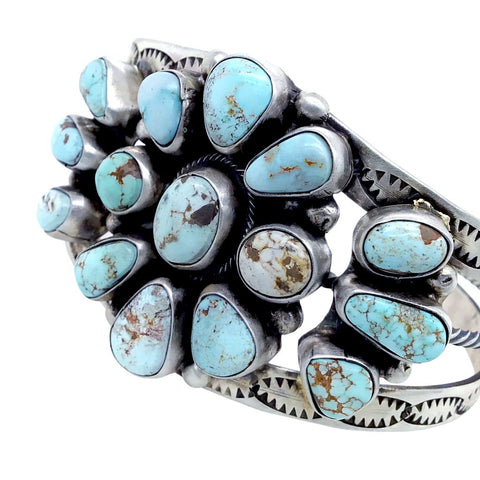 Native American Bracelet - Navajo Dry Creek Turquoise Cluster Sterling Silver Cuff Bracelet - Bobby Johnson - Native American