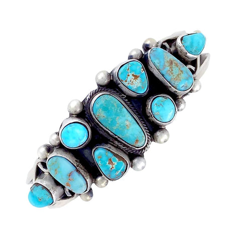 Native American Bracelet - Navajo Dry Creek Turquoise Cluster Sterling Silver Cuff Bracelet - Kathleen Chavez - Native American