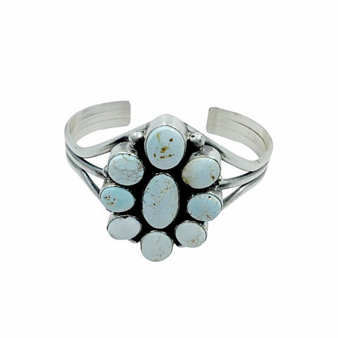 Native American Bracelet - Navajo Dry Creek Turquoise Cluster Sterling Silver Cuff Bracelet - Mary Ann Spencer - Native American