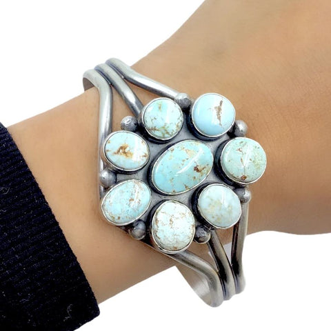 Native American Bracelet - Navajo Dry Creek Turquoise Flower Cluster Sterling Silver Cuff Bracelet - Mary Ann Spencer - Native American
