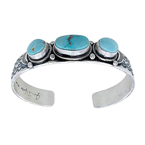Image of Native American Bracelet - Navajo Dry Creek Turquoise Hand-Stamped Sterling Silver Cuff Bracelet  - Native American