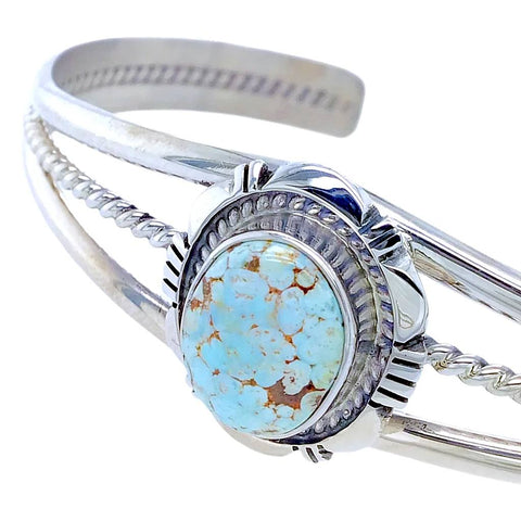 Image of Native American Bracelet - Navajo Dry Creek Turquoise Sterling Silver Cuff Bracelet - Native American