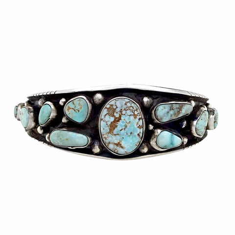 Image of Native American Bracelet - Navajo Dry Creek Turquoise Sterling Silver Drop Tapered Cuff Bracelet - Bobby Johnson - Native American