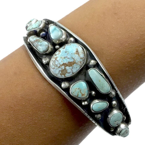 Native American Bracelet - Navajo Dry Creek Turquoise Sterling Silver Drop Tapered Cuff Bracelet - Bobby Johnson - Native American