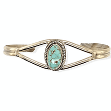 Load image into Gallery viewer, Native American Bracelet - Navajo Dry Creek Turquoise Thin Band Bracelet