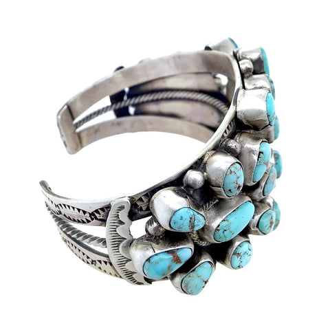 Native American Bracelet - Navajo Dry Creek Turquoise Triple Cluster Stamped Sterling Silver  Cuff Bracelet - Bobby Johnson - Native American