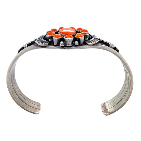 Native American Bracelet - Navajo Exquisite Orange Spiny Oyster Sterling Silver Bracelet - Thomas Francisco