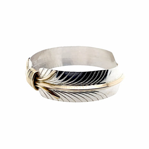 Native American Bracelet - Navajo Feather Gold Filled Sterling Silver Cuff Bracelet - Native American