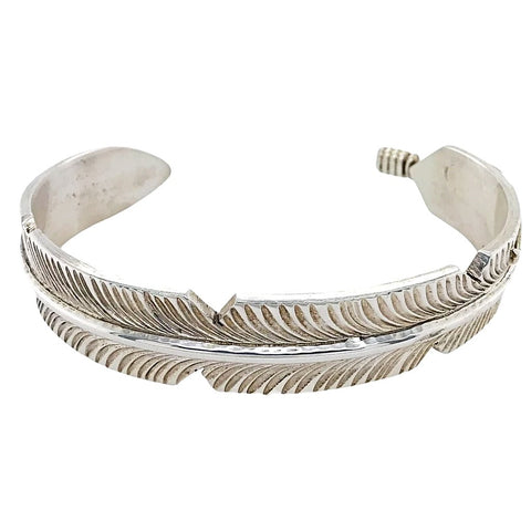 Image of Native American Bracelet - Navajo Feather Heavy Gauge Sterling Silver Cuff Bracelet - Chris Charley