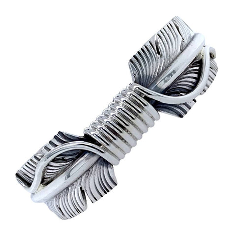Image of Native American Bracelet - Navajo Feather Heavy Sterling Silver Cuff Bracelet - M. Thomas Jr. - Native American
