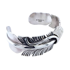 Native American Bracelet - Navajo Feather Heavy Sterling Silver Cuff Bracelet - M. Thomas Jr. - Native American