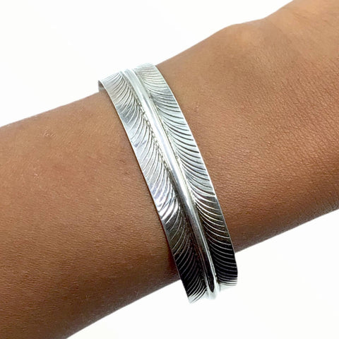 Image of Native American Bracelet - Navajo Feather Sterling Silver Cuff Bracelet - Native American