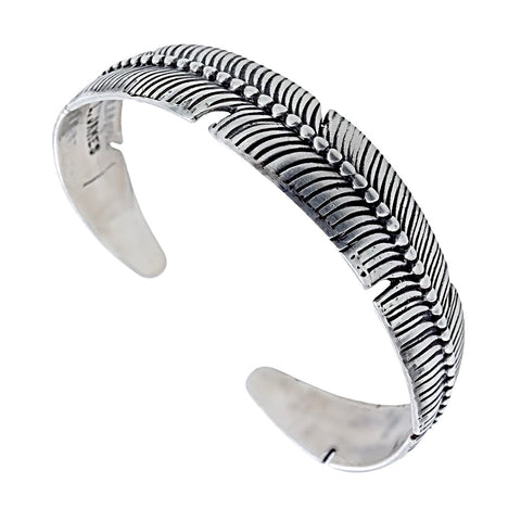 Native American Bracelet - Navajo Feather Sterling Silver Drop Cuff Bracelet - L. James - Native American