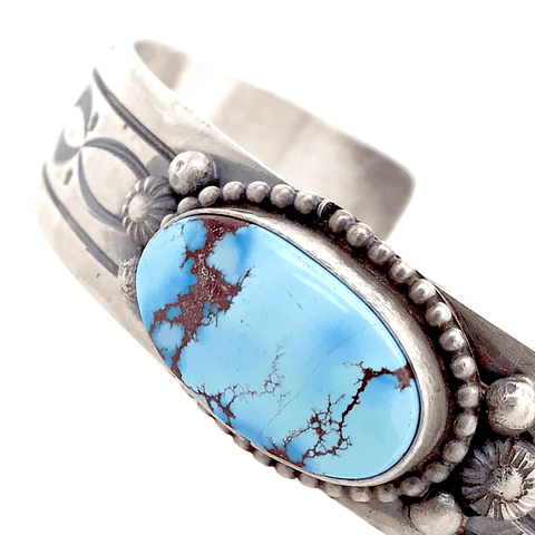 Image of Native American Bracelet - Navajo Fine Hand-Stamped Golden Hills Turquoise Sterling Silver Bracelet - Shelia Tso
