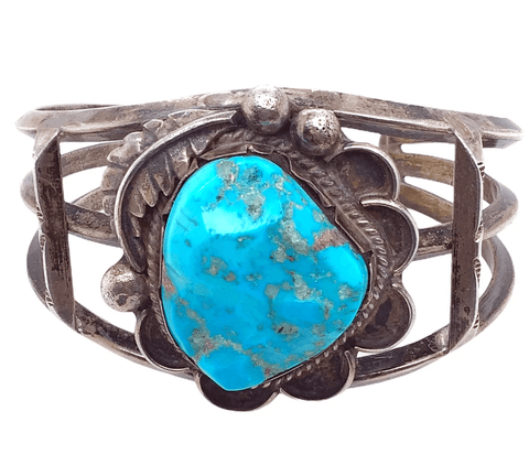 Native American Bracelet - Navajo Free Form Natural Turquoise Pawn Bracelet