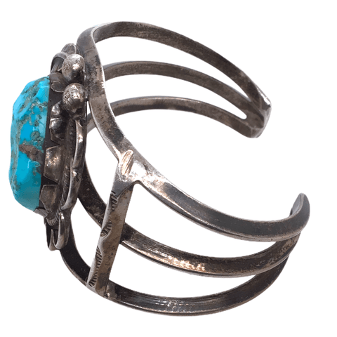 Image of Native American Bracelet - Navajo Free Form Natural Turquoise Pawn Bracelet