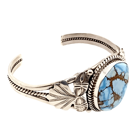 Image of Native American Bracelet - Navajo Golden Hills Turquoise Bracelet With Silver Side Stamping