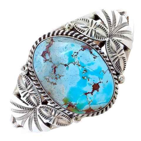 Image of Native American Bracelet - Navajo Golden Hills Turquoise Hand-Stamped Sterling Silver Bracelet - Mary Ann Spencer