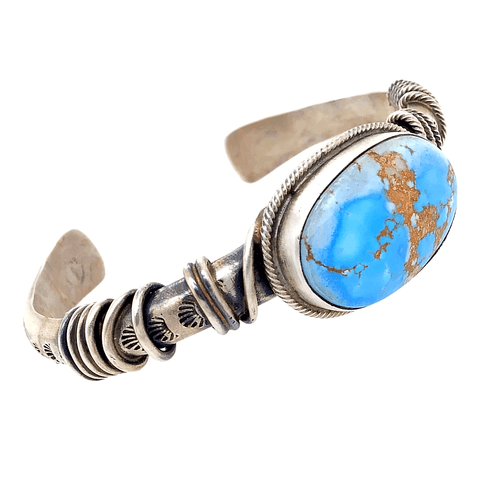 Image of Native American Bracelet - Navajo Golden Hills Turquoise Ropin' Rodeo Silver Bracelet