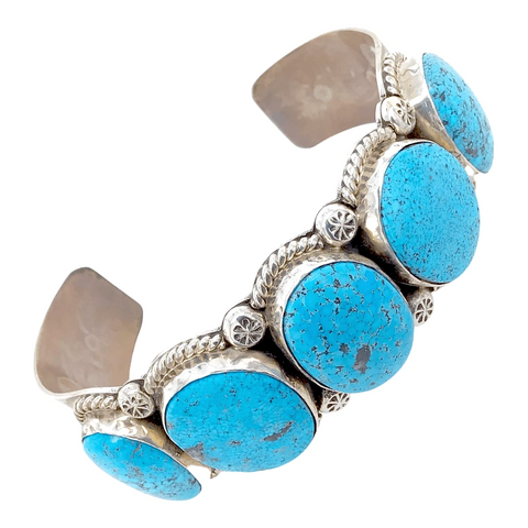 Native American Bracelet - Navajo Hand -Stamped Kingman Turquoise 5-Stone Row Sterling Silver Bracelet - Mary Ann Spencer