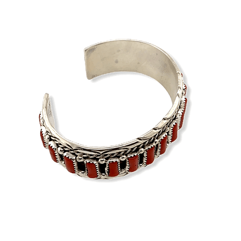 Image of Native American Bracelet - Navajo Handcrafted Coral Cuff Bracelet - M. Chee