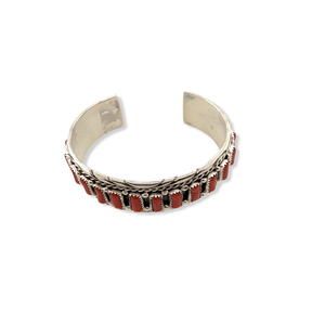 Native American Bracelet - Navajo Handcrafted Coral Cuff Bracelet - M. Chee