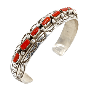 Native American Bracelet - Navajo Inlay Coral Cuff - Wilbur Benally