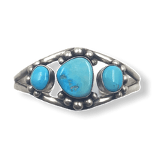 Load image into Gallery viewer, Navajo Kingman Turquoise 3 Stone Bracelet